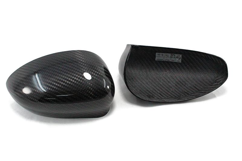 Fiat Carbon Fiber Mirror Caps on Fiat 500 Abarth Mirror Cap