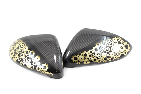 Carbon fiber VW Golf MK7/GTI/R/ mirror caps airbrushe with Golden Gears pattern