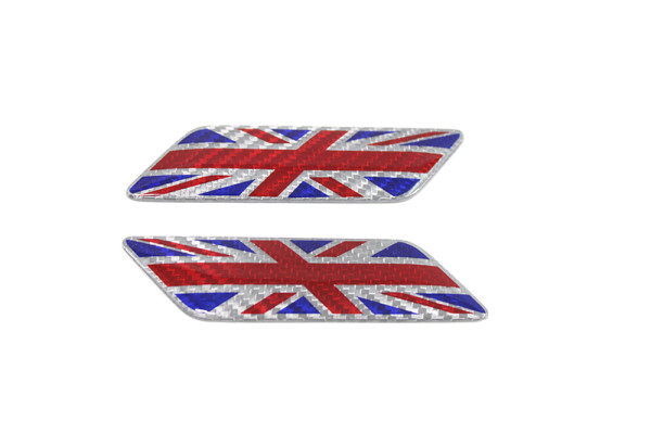 Carbon fiber Britain flag fender emblem
