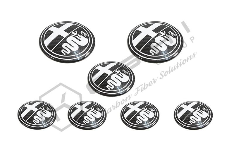 alfa romeo logo black and white. alfa romeo 4c carbon fiber emblem cover kit white logo black and